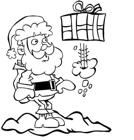 Coloriage Noel et Cadeau volant drôle dessin gratuit à imprimer