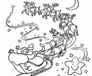 Coloriage Père Noël avec son Traîneau et ses Rennes
