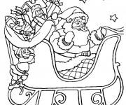 Coloriage Père Noël et ses cadeaux pour enfant
