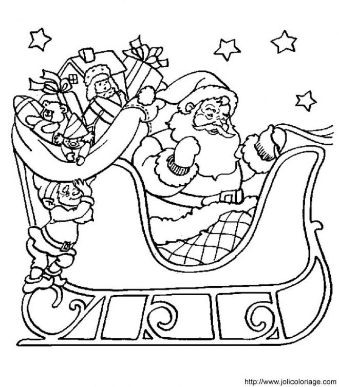 Coloriage et dessins gratuits Père Noël et ses cadeaux pour enfant à imprimer