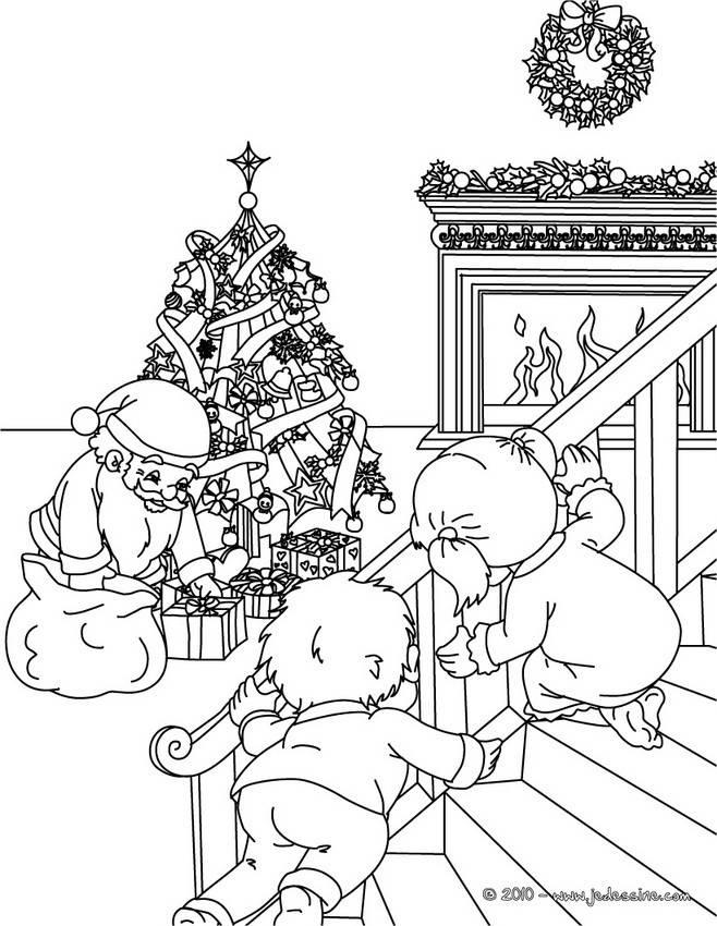 Coloriage et dessins gratuits Père Noël se fait prendre à imprimer