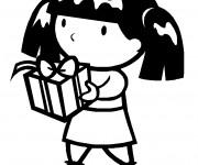 Coloriage Petite fille Porte son Cadeau