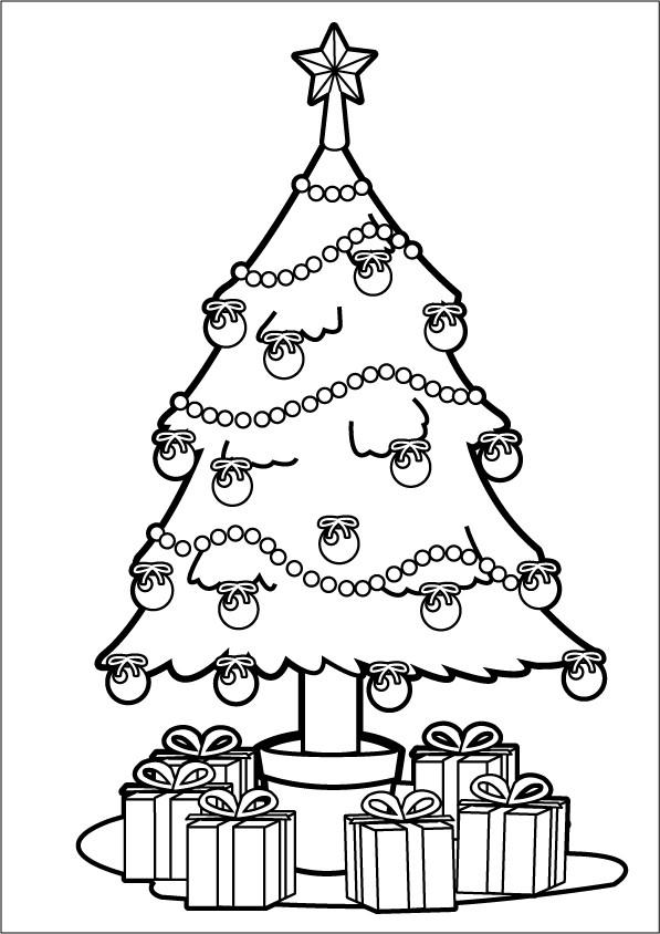 Coloriage Sapin de Noël vecteur dessin gratuit à imprimer