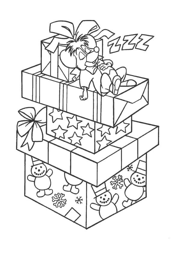 coloriage souris dort sur les cadeaux de noel dessin gratuit imprimer. Black Bedroom Furniture Sets. Home Design Ideas
