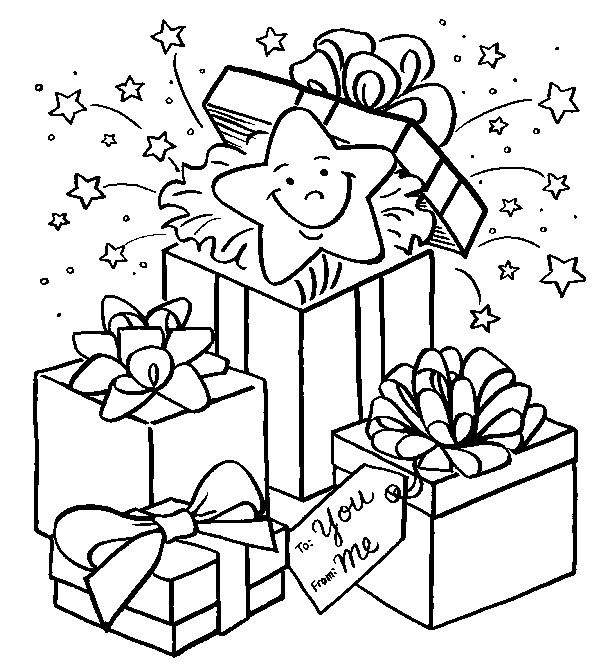 Coloriage Surprise Dans Le Cadeau Dessin Gratuit A Imprimer