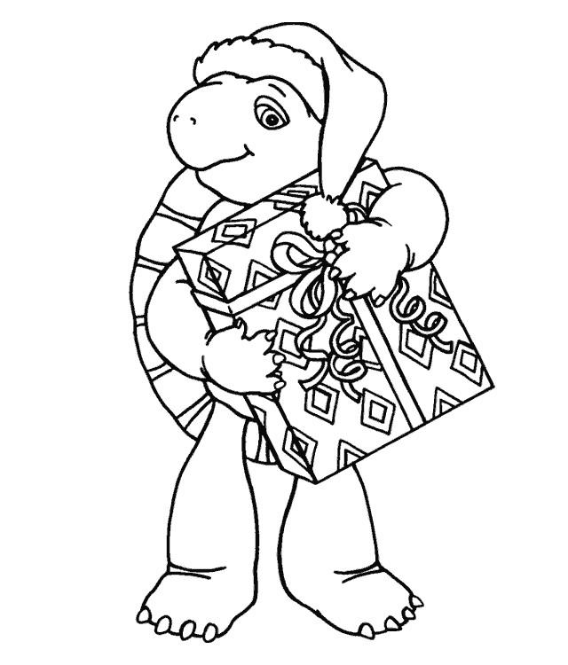 Coloriage et dessins gratuits Tortue apporte les Cadeaux de Noel à imprimer