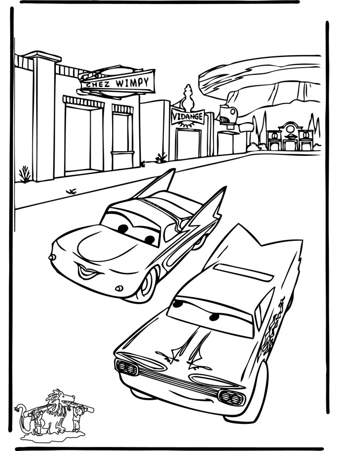 Coloriage Cars en course Disney dessin gratuit à imprimer