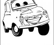Coloriage Cars qui sourit en noir et blanc