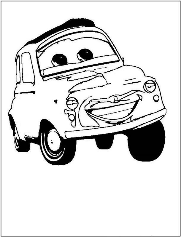 Coloriage et dessins gratuits Cars qui sourit en noir et blanc à imprimer