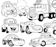 Coloriage et dessins gratuit Flash Mcqueen et sa bande à imprimer