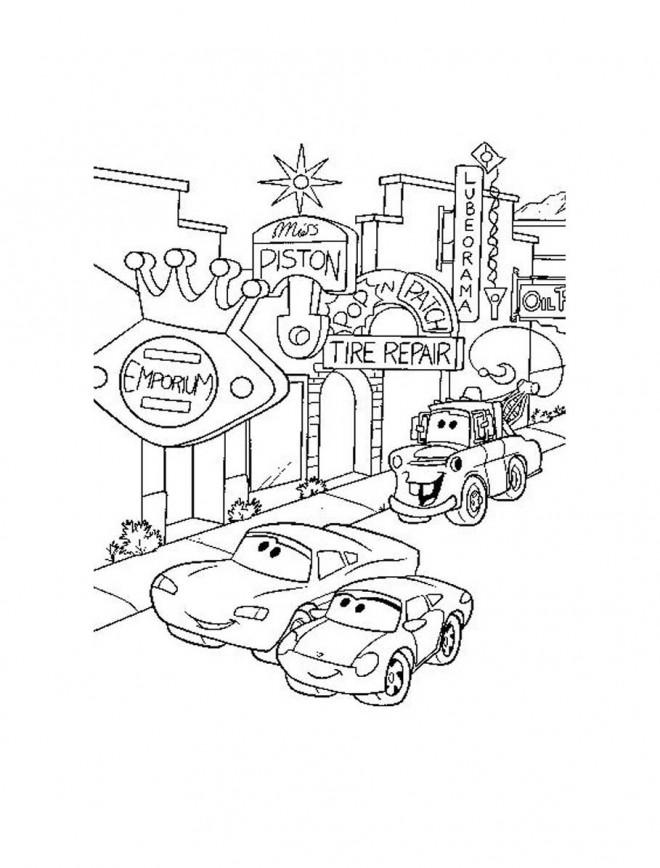 Coloriage et dessins gratuits Les voitures se promènent à imprimer