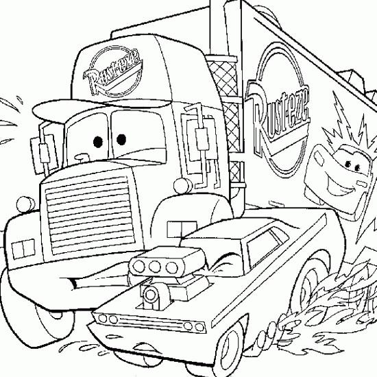 Coloriage Mack Et Flash Mcqueen.Coloriage Mack Camion De Disney Dessin Gratuit A Imprimer