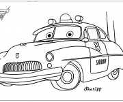 Coloriage Sheriff Cars dessin animé
