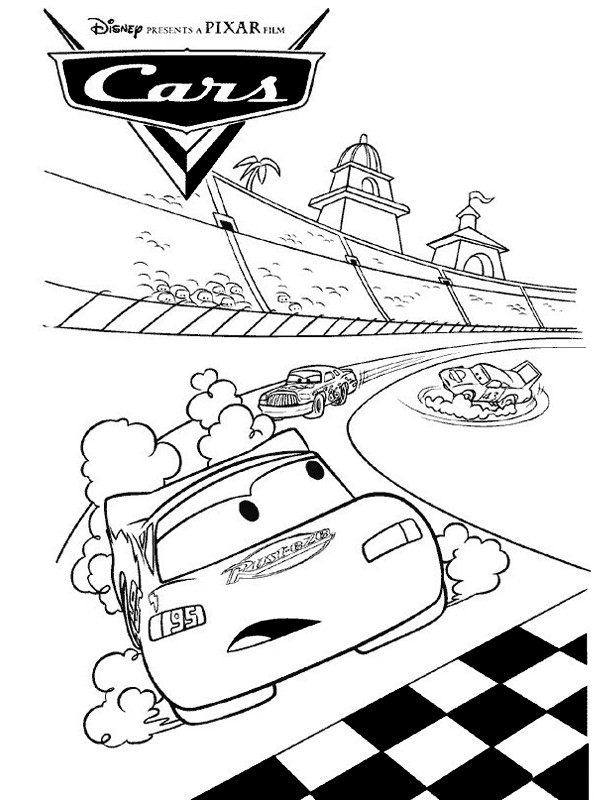 Coloriage Cars Flash Mcqueen en tête de la course