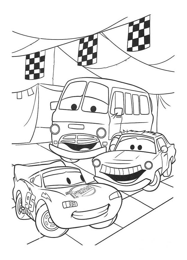 Coloriage et dessins gratuits Cars Flash Mcqueen et ses amis à imprimer