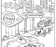 Coloriage et dessins gratuit Flash Mcqueen dans La Ville à imprimer