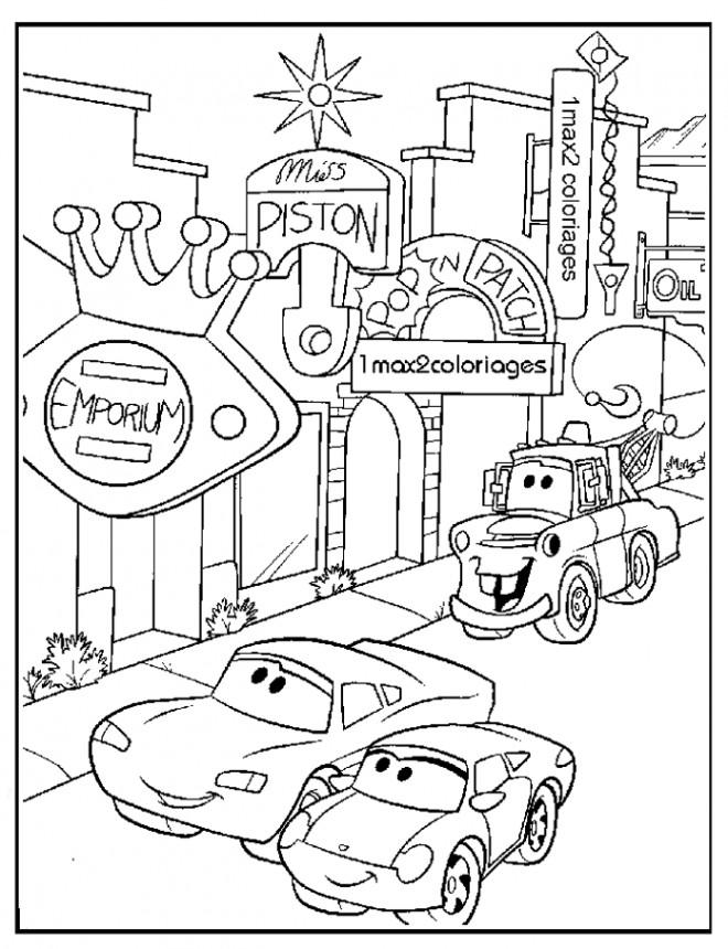 Coloriage flash mcqueen dans la ville dessin gratuit imprimer - Coloriage cars couleurs ...