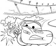 Coloriage Pneu de Flash Mcqueen explose