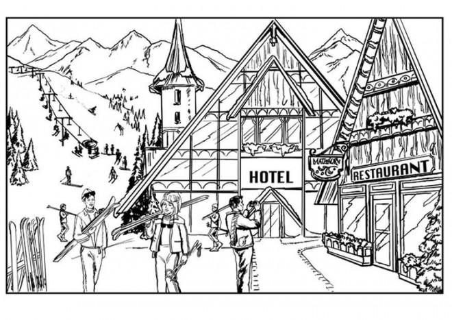 Coloriage et dessins gratuits Chalet au Ski à imprimer