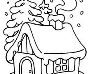 Coloriage et dessins gratuit Chalet dans La Forêt à imprimer
