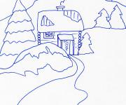 Coloriage et dessins gratuit Chalet en bleu à imprimer