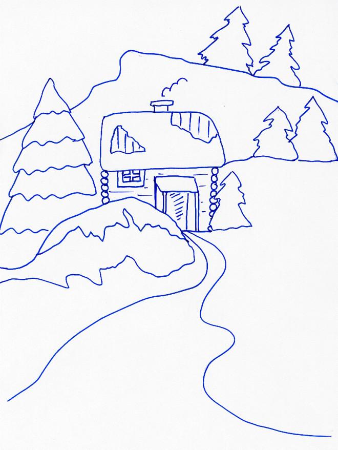 Coloriage et dessins gratuits Chalet en bleu à imprimer