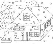 Coloriage et dessins gratuit Chalet en Hiver à imprimer