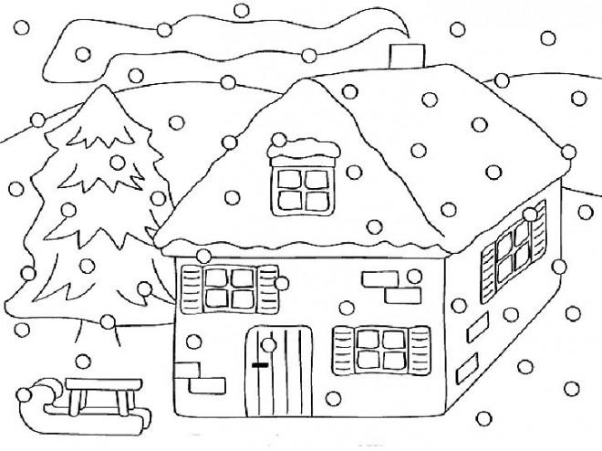 Coloriage et dessins gratuits Chalet en Hiver à imprimer