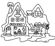 Coloriage et dessins gratuit Chalet enneigé à imprimer