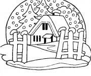 Coloriage et dessins gratuit Chalet et La Neige à imprimer