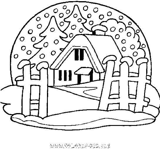 Coloriage et dessins gratuits Chalet et La Neige à imprimer