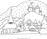Coloriage Chalet Montagne