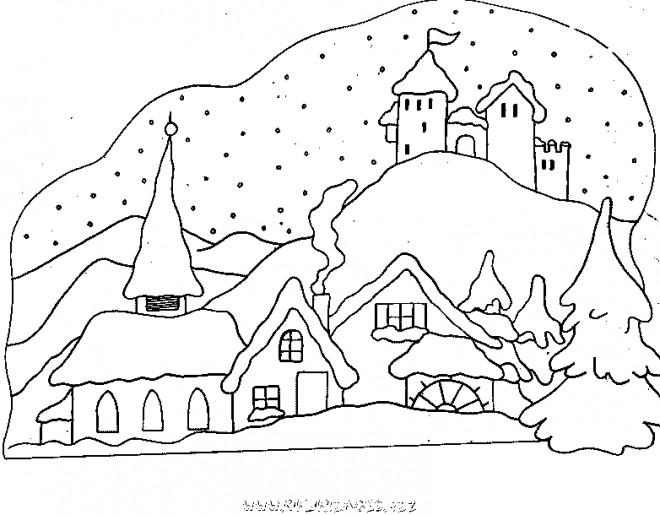 Coloriage chalet montagne dessin gratuit imprimer - Dessin de chalet de montagne ...