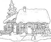 Coloriage et dessins gratuit Chalet Noël à imprimer