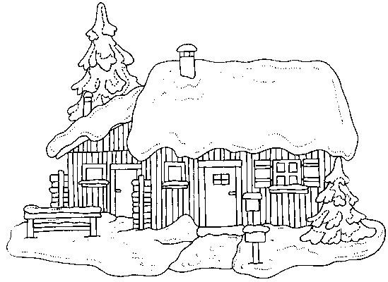 Coloriage chalet no l dessin gratuit imprimer - Coloriage village de noel ...