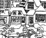 Coloriage Chalet Noël à colorier
