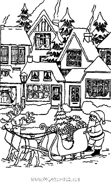 Coloriage Chalet Noël à colorier dessin gratuit à imprimer