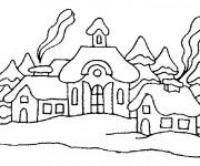 Coloriage et dessins gratuit Des Chalets de Montagne à imprimer