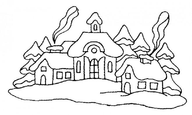 Coloriage et dessins gratuits Des Chalets de Montagne à imprimer