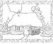 Coloriage et dessins gratuit Paysage d'un Chalet à imprimer