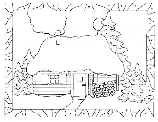 Coloriage paysage d 39 un chalet dessin gratuit imprimer - Dessin de chalet de montagne ...