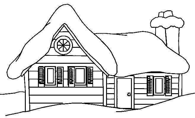 Coloriage un chalet en noir et blanc dessin gratuit imprimer - Coloriage noir et blanc ...