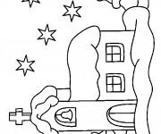 Coloriage et dessins gratuit Une Église La Nuit à imprimer