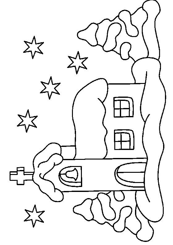 Coloriage et dessins gratuits Une Église La Nuit à imprimer