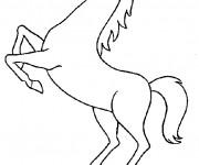 Coloriage et dessins gratuit Cheval tout en sautant à imprimer