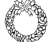 Coloriage Couronne de Noel à fabriquer avec des feuilles
