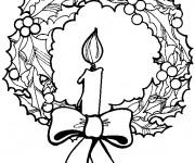Coloriage et dessins gratuit Couronne de Noel avec Bougie à imprimer