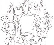 Coloriage et dessins gratuit Couronne de Noel avec cinq bougies à imprimer