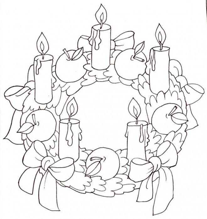 Coloriage Couronne de Noel avec cinq bougies dessin gratuit à imprimer