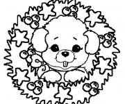 Coloriage et dessins gratuit Couronne de Noel avec ourson à imprimer